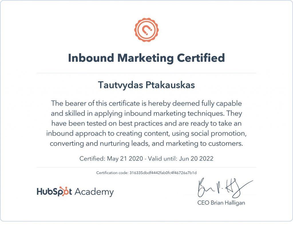 HubSpot Inbound marketing sertifikatas - Tautvydas takauskas B2B rinkodaros strategas